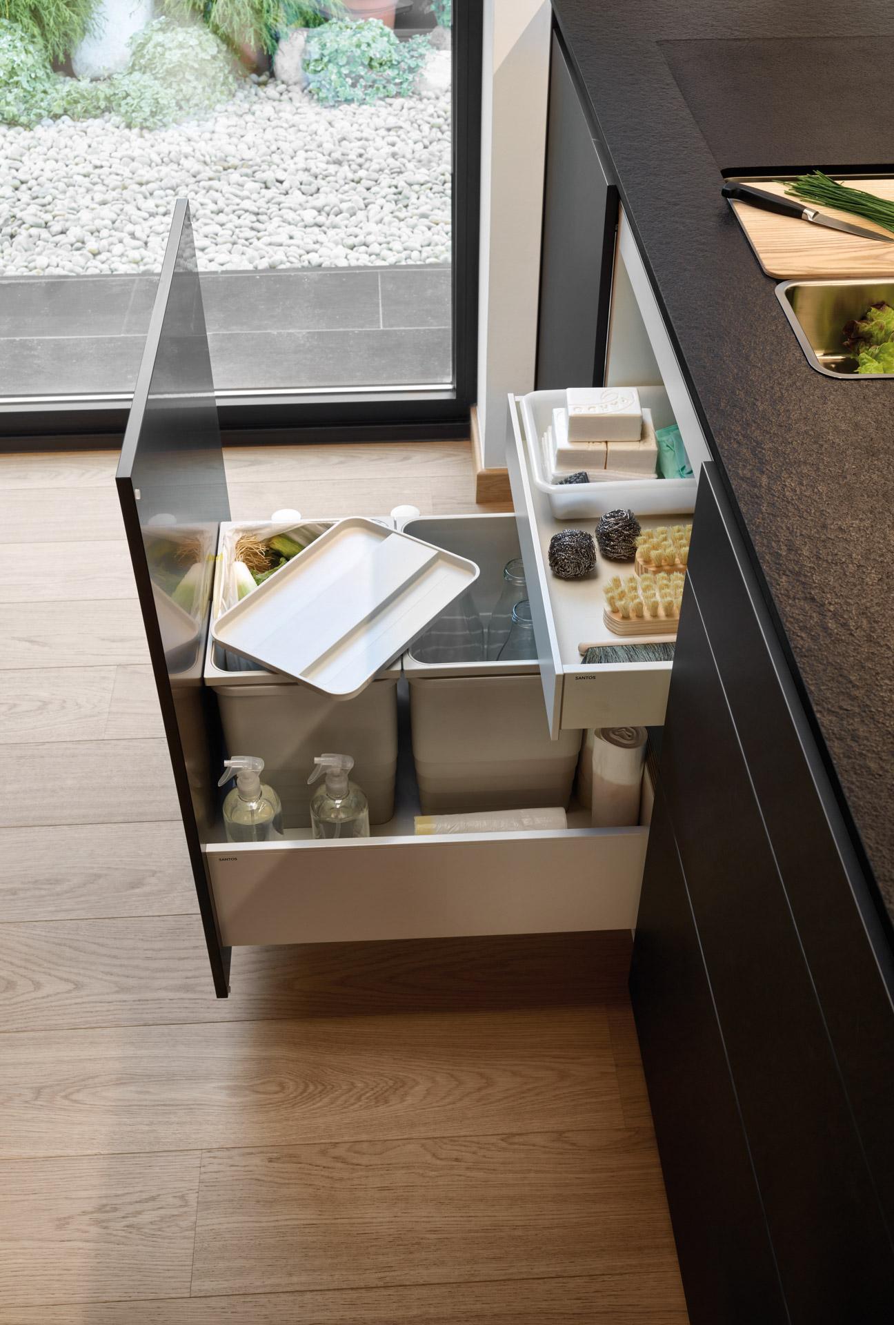 Portafregadero en cocinas en paralelo