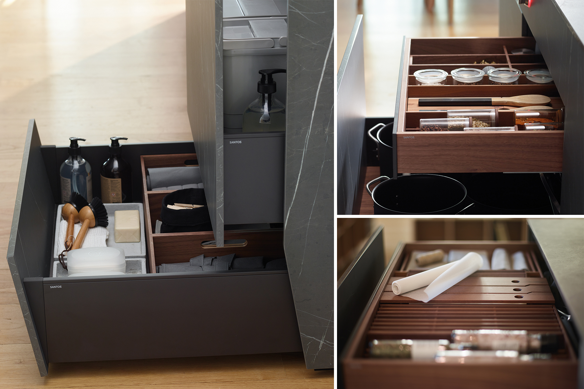 Cozinha preta com ilha aberta para a sala de estar e a sala de jantar, equipada com novos móveis concebidos pela Santos