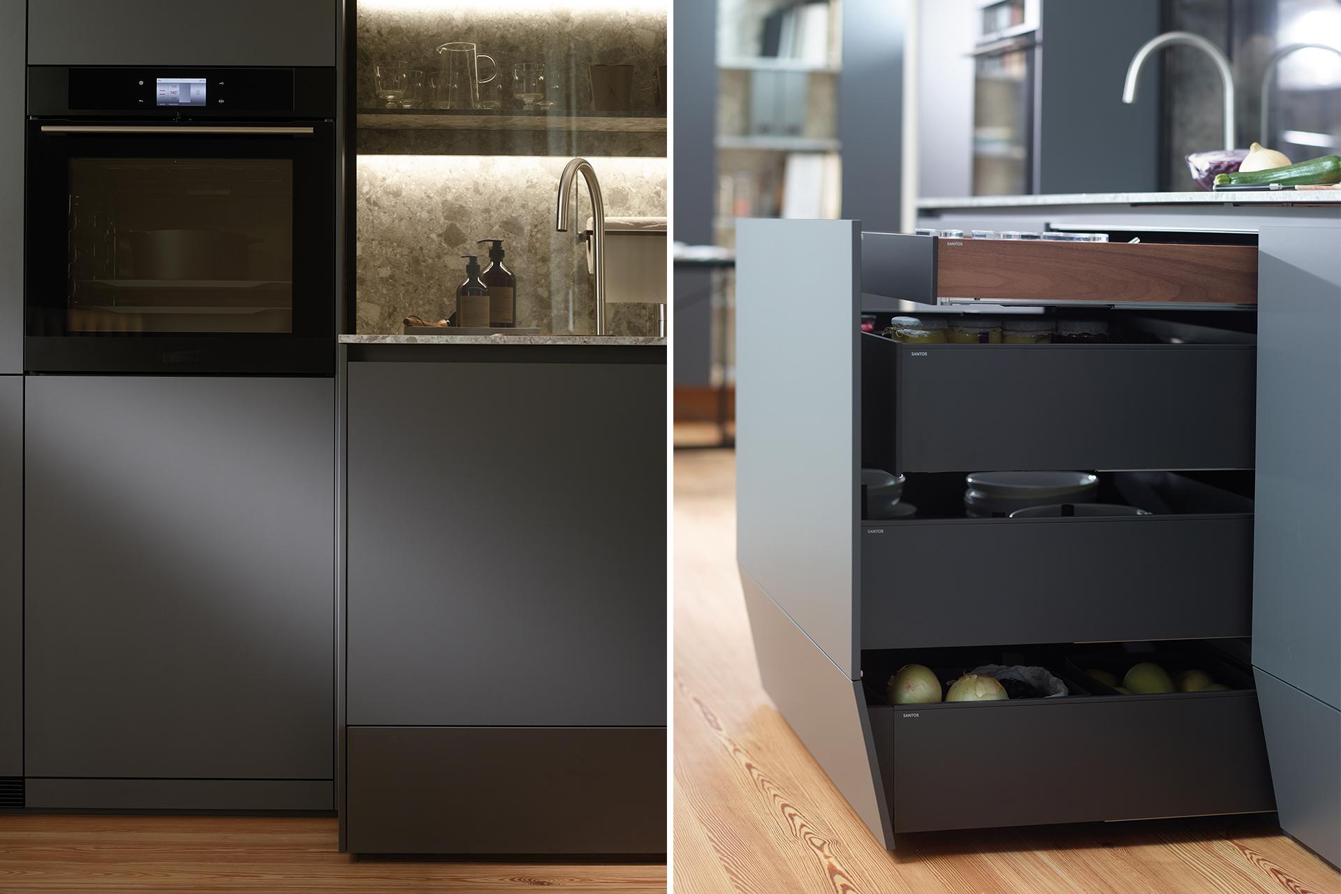 Keuken met vloerlade ontworpen door Santos