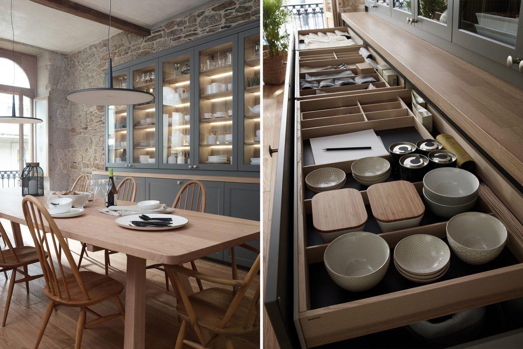 Cocina con isla y aparador abierta al comedor, equipada con muebles diseñados por Santos