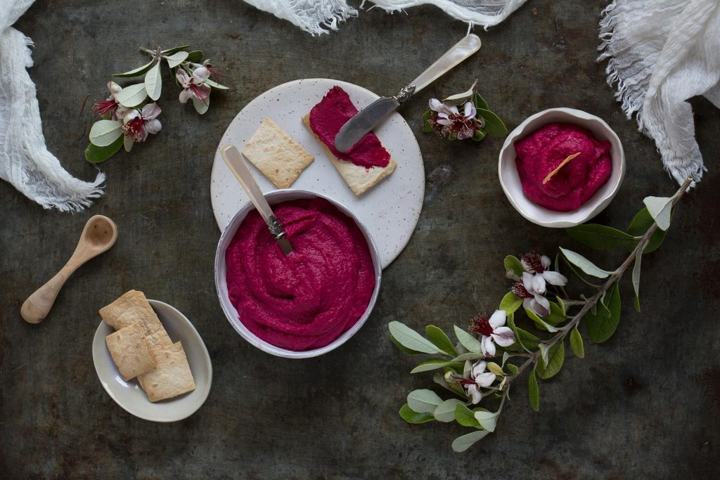 Recipe for beetroot hummus by Santos Kitchens