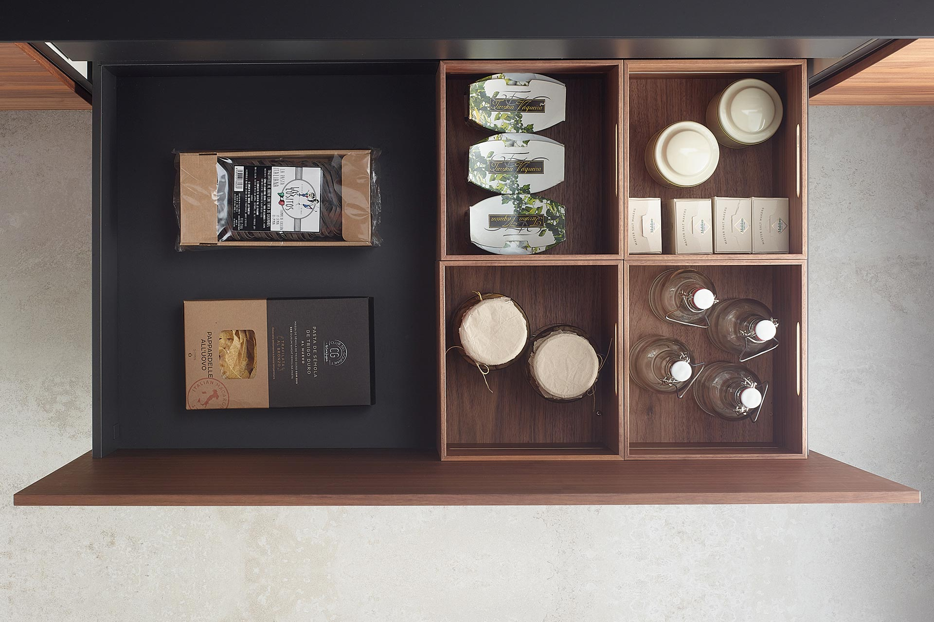 Wooden containers for Santos kitchen double drawers