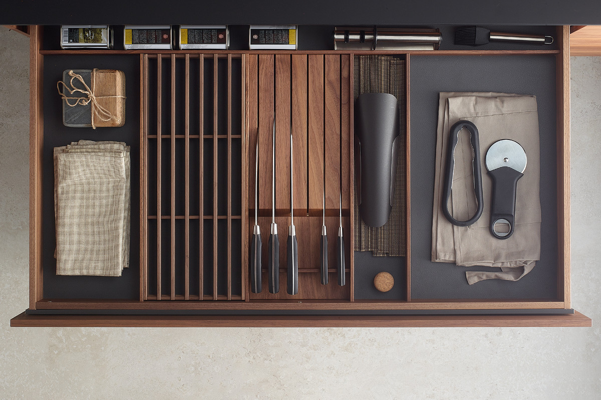Acessórios de madeira para gavetas de cozinha Santos: porta-facas