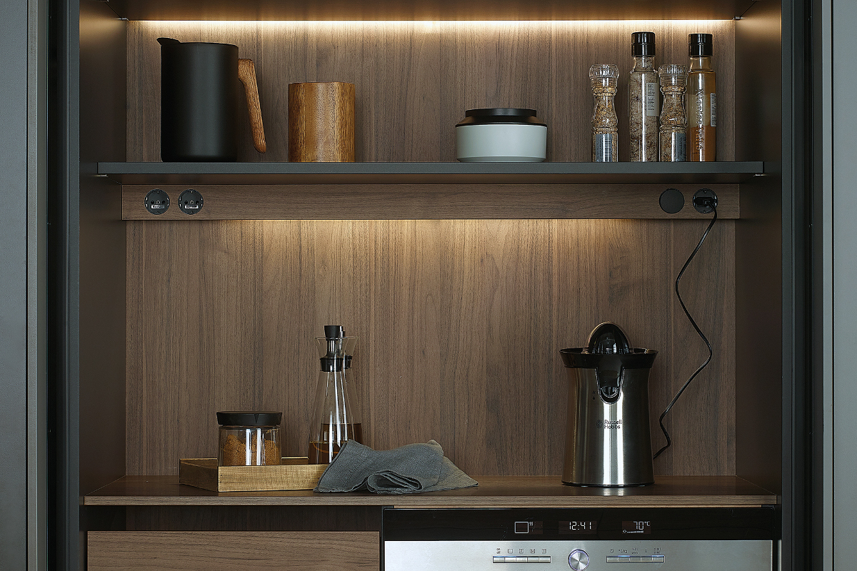 Kitchen shelves with interior lighting