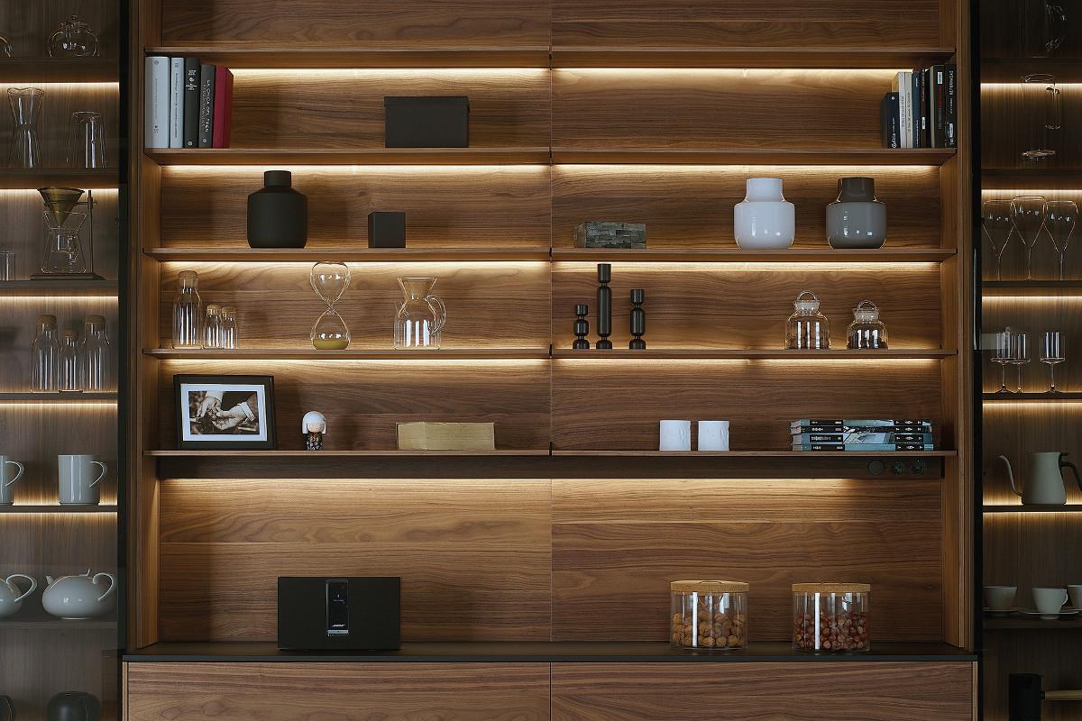 Vitrines de cozinha com iluminação LED Santos