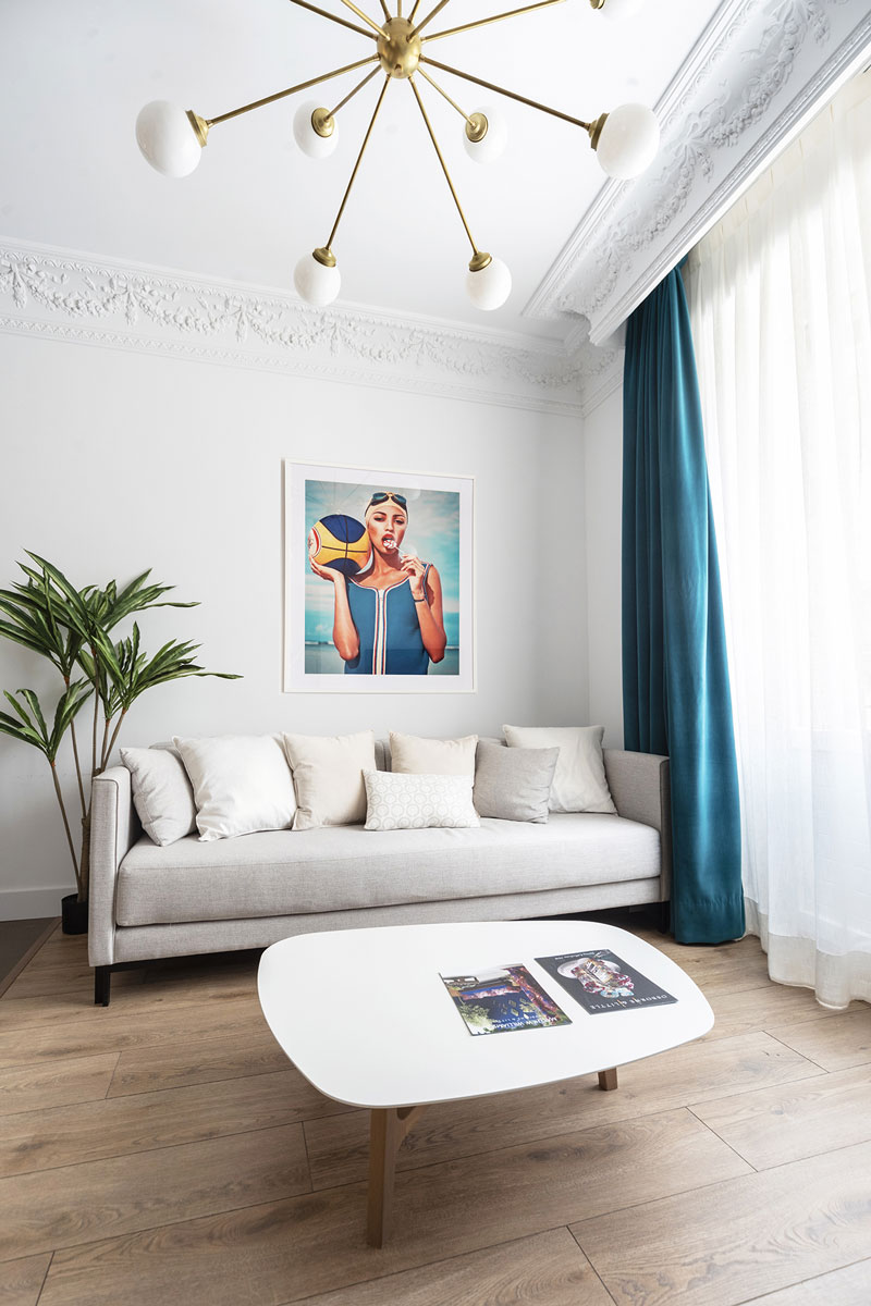 Bright white living room in holiday apartment