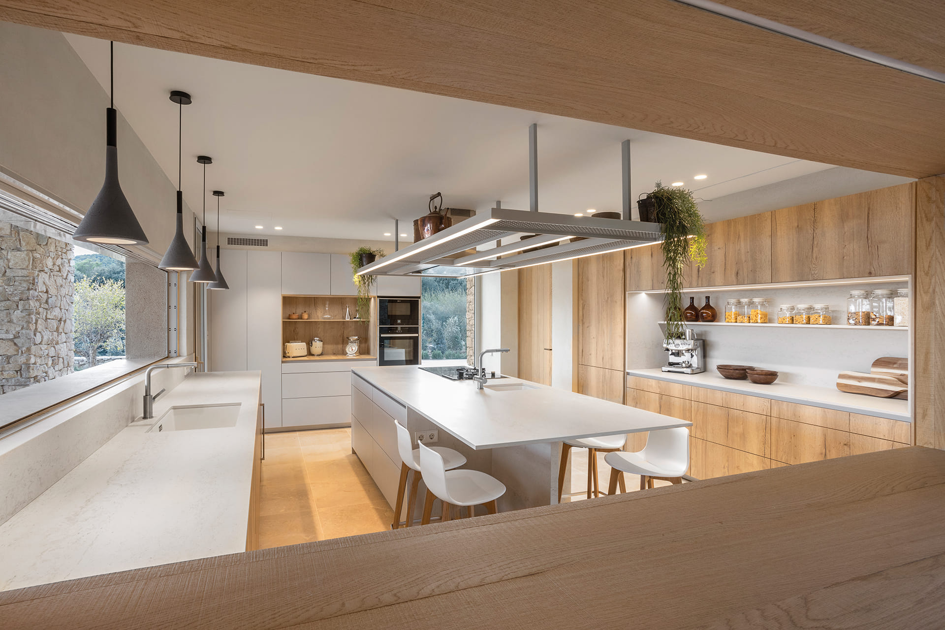 Santos kitchen with island and wooden finish