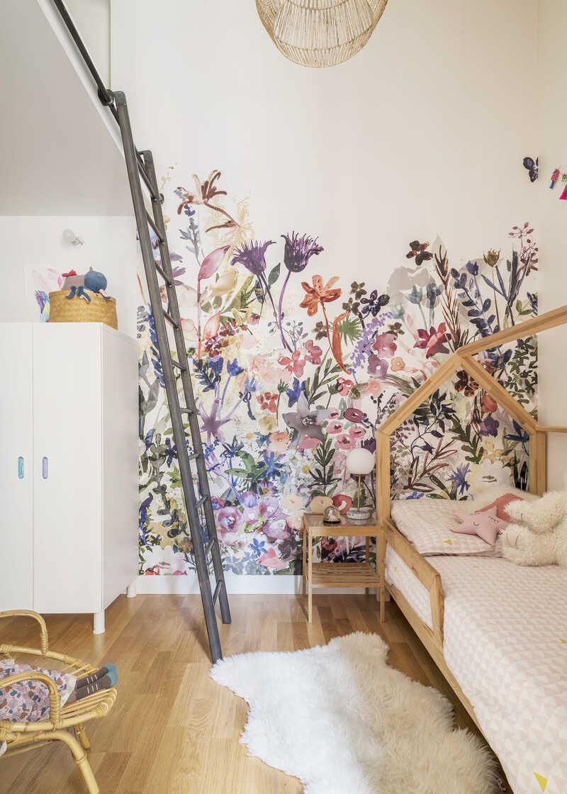 Children's bedroom in light lively colours
