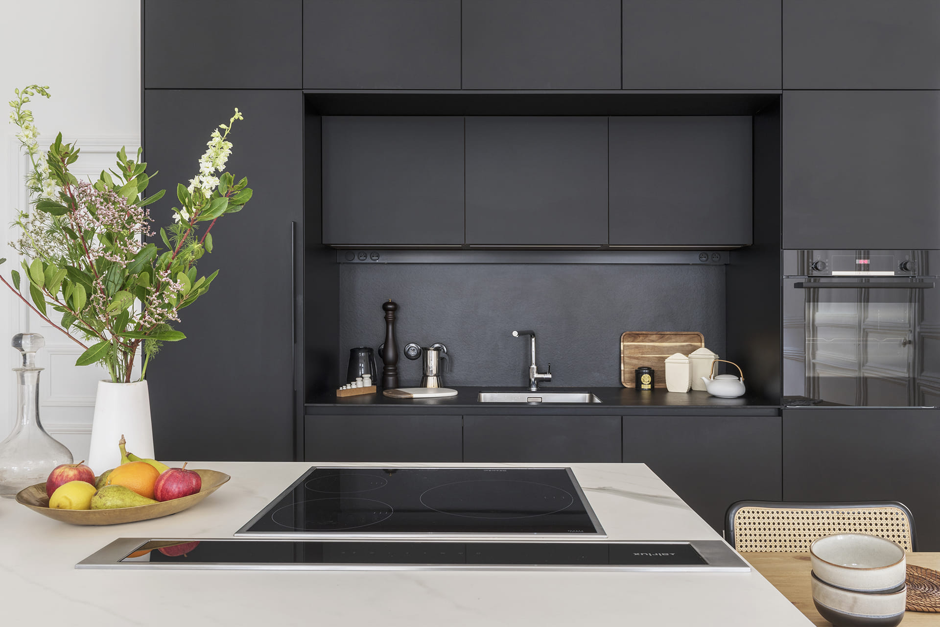 Santos black kitchen cabinets with tall units