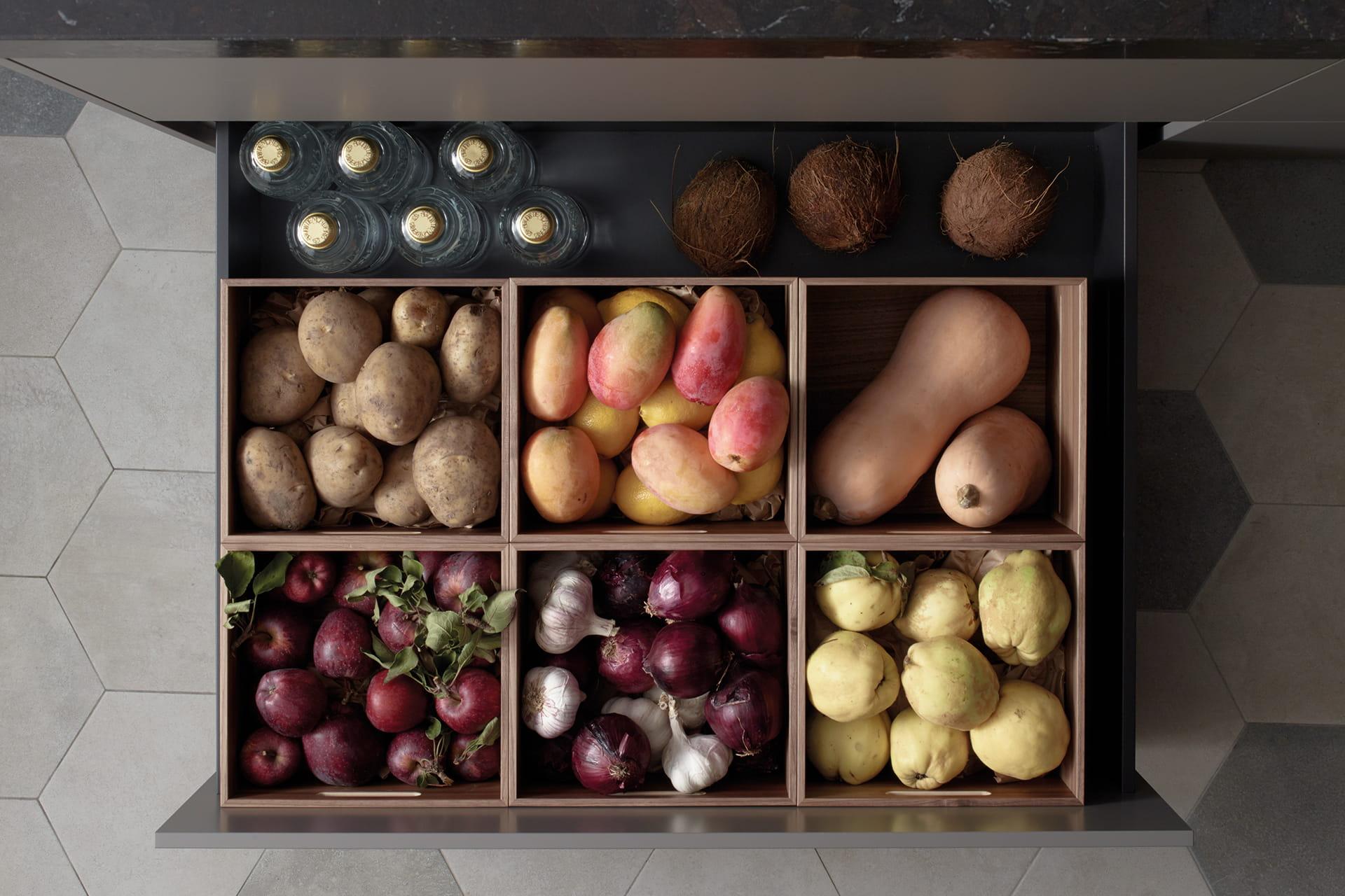 Meubles de cuisine Santos : tiroirs et coffres de grande capacité
